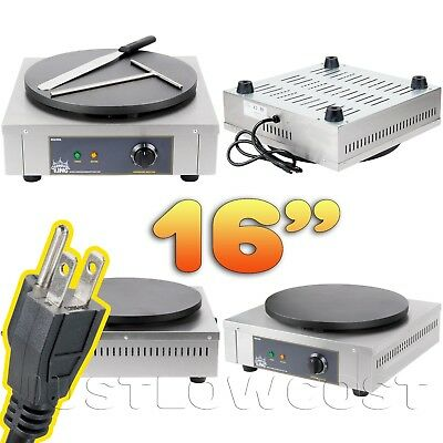 """16"""" Heavy-Duty Commercial Stainless Steel Electric Crepe Pan Maker Flat Dessert"""