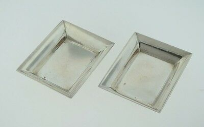 Set of 2 - Stieff Sterling Silver Rectangle Nut Candy Dish Butter Pat 048-W