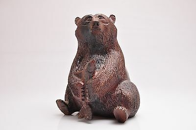 Hand Carved Detailed Wooden Brown Bear with Caught Fish in Paws