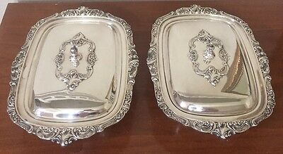 Antique Baroque Wallace Silver Plate Individual Casserole Lid Covered Dish Set 2