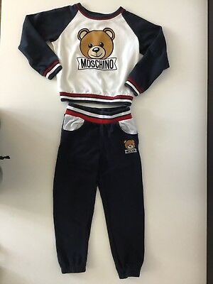 Moschino Boys Tracksuit Jogging Bottoms & Jumper Teddy Bear Age 116 Cm 6 Months