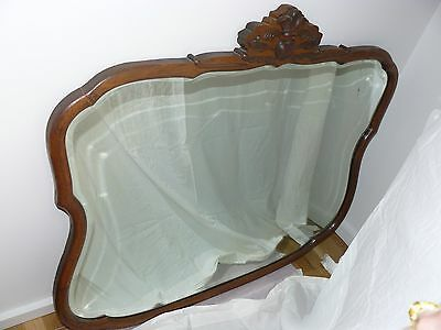 Large Antique Oak Frame Mirror w/beveled glass. Ornate carving