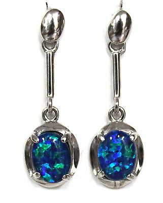 Australian Natural Black Triplet Opal Earring With Solid Silver Set 11.34ct
