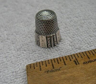 Old Victorian Sterling Gilt Panel Thimble-Engraved MA PA CASTLE 1898-Simons Bros