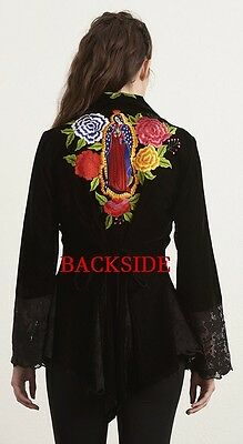 Roja Fall '17~AMAZING~Black Velvet~Embroidered~GUADALUPE JACKET/TOP