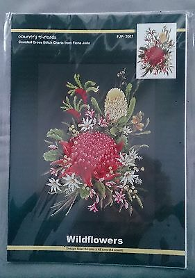 Wildflowers cross stitch chart by Fiona Jude. Design size 34 x 48cm for 14ct