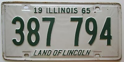 Illinois 1965 License Plate NICE QUALITY # 387 794