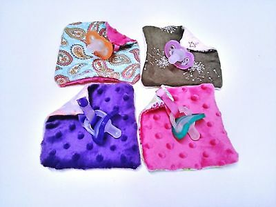 Jollypop Dummy Clip Holder Blanket Cuddle Minky Square WITH JOLLYPOP DUMMY