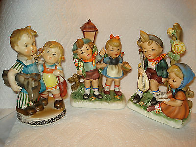 Vintage Hummel Style Boy and Girls lot of 3 figurines made in Japan