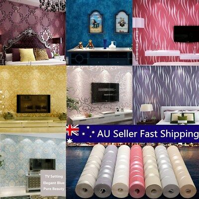 10M 3D Damask Flower Embossed Texture Non-woven Fabric Roll Wallpaper Background