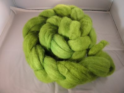 Hand Dyed wool roving Radioactive (very bright) 50g