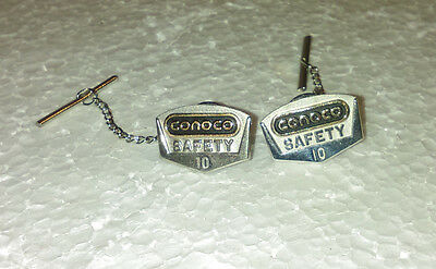 Lot Of 2 Vintage Conoco Oil10 Year Safety Pin  Sterling Pin Back