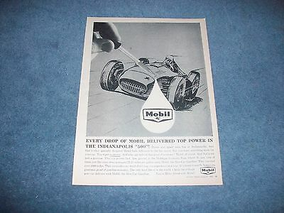 "1960 Mobile Gasoline Oil Vintage Ad ""...Delivered Top Power in the Indy 500"""
