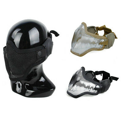 Airsoft CS Game Camouflage Mask Tactical Half Face Mesh Mask with Ear protection