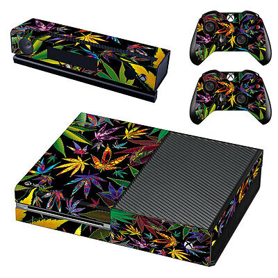 Marijuana Weed Sticker Skin Kit Cover for XBOX ONE Console 2 Remotes Kinect AU