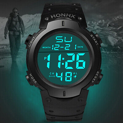 Mens Waterproof Digital Sports Wrist Watch Military Army Tactical Date LED Alarm