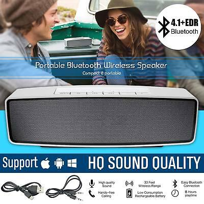 Portable Bluetooth Wireless Speaker Rechargeable AUX Stereo Music iPhone Samsung