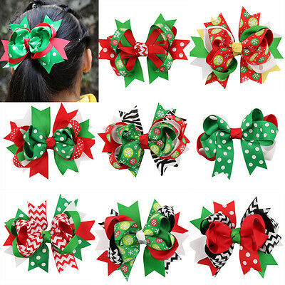 Christmas Baby Girls Ribbon Bow Hair Clip Kids Hairpin Hair Accessories