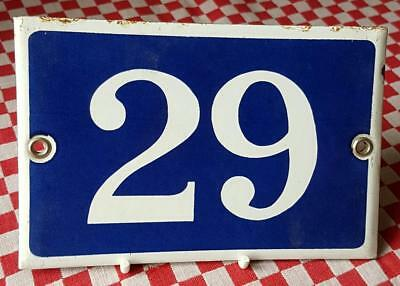 Vintage French Industrial Traditional Blue & White Enamel Door House Sign No. 29