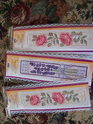 Lot of 3 Counted cross stitch bookmark kits