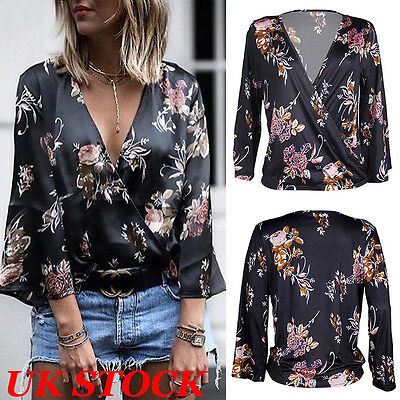 UK Women Loose V Neck Floral Tops Blouse Ladies Casual Long Sleeve T Shirt Top