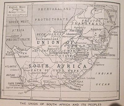 vintage 1934 mini map of The Union of South Africa and peoples ethnic group clan