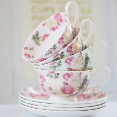 TEA CUP & SAUCER mixed set of 4 Fine Bone in Pink, White, Green & Ivory B6