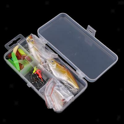 28x Fishing Lure Set Spinners Hooks Worms Spoon Soft Bait Pike Trout Salmon