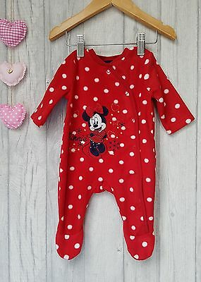 Baby Girls Red Fleecy Minnie Mouse Romper Sleepsuit Newborn upto 9lbs ☆ George ☆