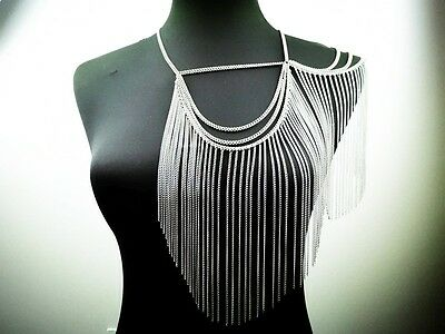 Silver Tone One Shoulder Showgirl Body Chain  Necklace - Uk Seller