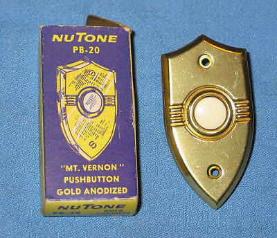 """Vintage NuTone Model PB-20 Pushbutton """"MT VERNON"""" Style Gold Anodized NEW in Box"""