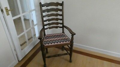 antique dining room chairs oak ladder back - 2 carvers, 4 chairs.