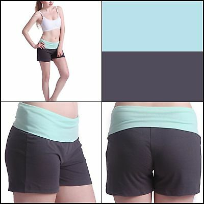 Women's Maternity Yoga Shorts Stretch Pregnancy Shorts Fold Over Waistband (M)