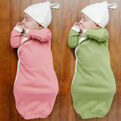Baby Girl Boy Cotton Pink Gown Outfit Newborn Pajamas set Sleepwear Baby Blanket