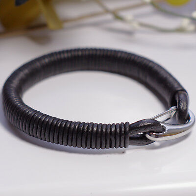 Mens Genuine Leather Corded Wristband / Bracelet