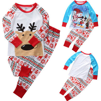 2 Piece Toddler Baby Boys Girls Tops + Pants Clothes Pajamas Sleepsuit Pyjamas