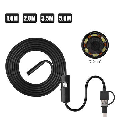 5M Android Endoscope USB Waterproof Borescope Inspection camera 7mm 6 LED JS