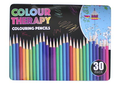 Colour Therapy 30 Pack Regular Quality Colouring Pencils In A Tin Case