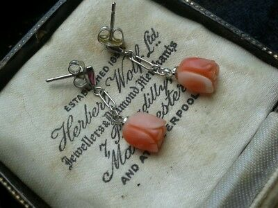 white gold post silver chain angel skin coral earrings