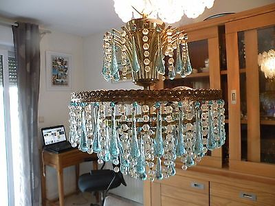 Antique chandelier Italian Murano pampilles blue 1960's