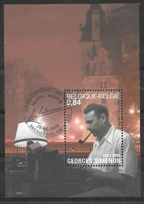 Belgium - Sheet - 2003 - COB 103 - SCOTT 1955 - Georges Simenon - Used -