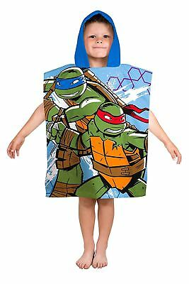 Girls Cartoon Characters Teenage Mutant Ninja Turtles Print Boys Hooded Poncho