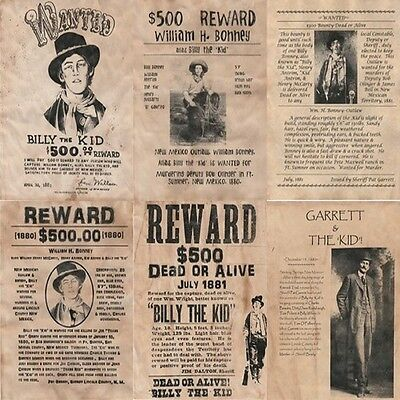 6 Billy Kid~ Wanted Posters Outlaw Billy The Kid Pat Garrett New Mexico Bandit