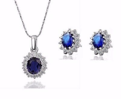 Queen Design Sapphire Royal Blue Jewellery Set Stud Earrings and Necklace UK