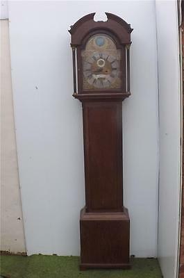 Grandfather Clock automaton Georgian brass arched dial 8 day movement.