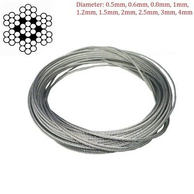 Wire Rope (7x7) Stainless Steel Wire Rope Cable Flexible 0.5mm 1mm 2mm 3mm 4 mm