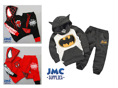 Boys Character Tracksuits Baby Clothing outfit Spiderman Batman 9/12mths-4/5yrs