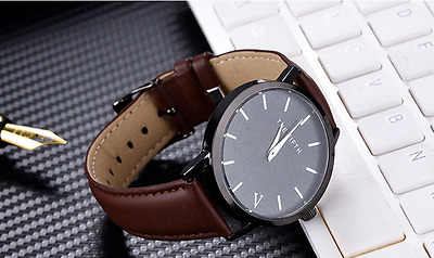 The Fifth Casual Simple Quartz Analog Watch Leather Band Wristwatch