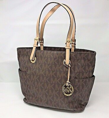 Michael Kors Jet Set Signature Logo Tote in Brown  ( Free Shipping)