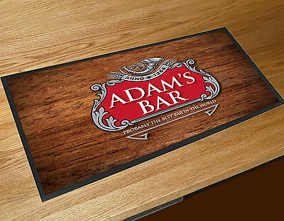 Personalised Red & Silver Beer Label bar runner Pubs & Cocktail Bars Bar Mat